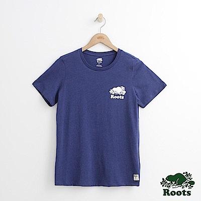 Roots -女裝- 左胸庫柏短袖T恤 - 藍