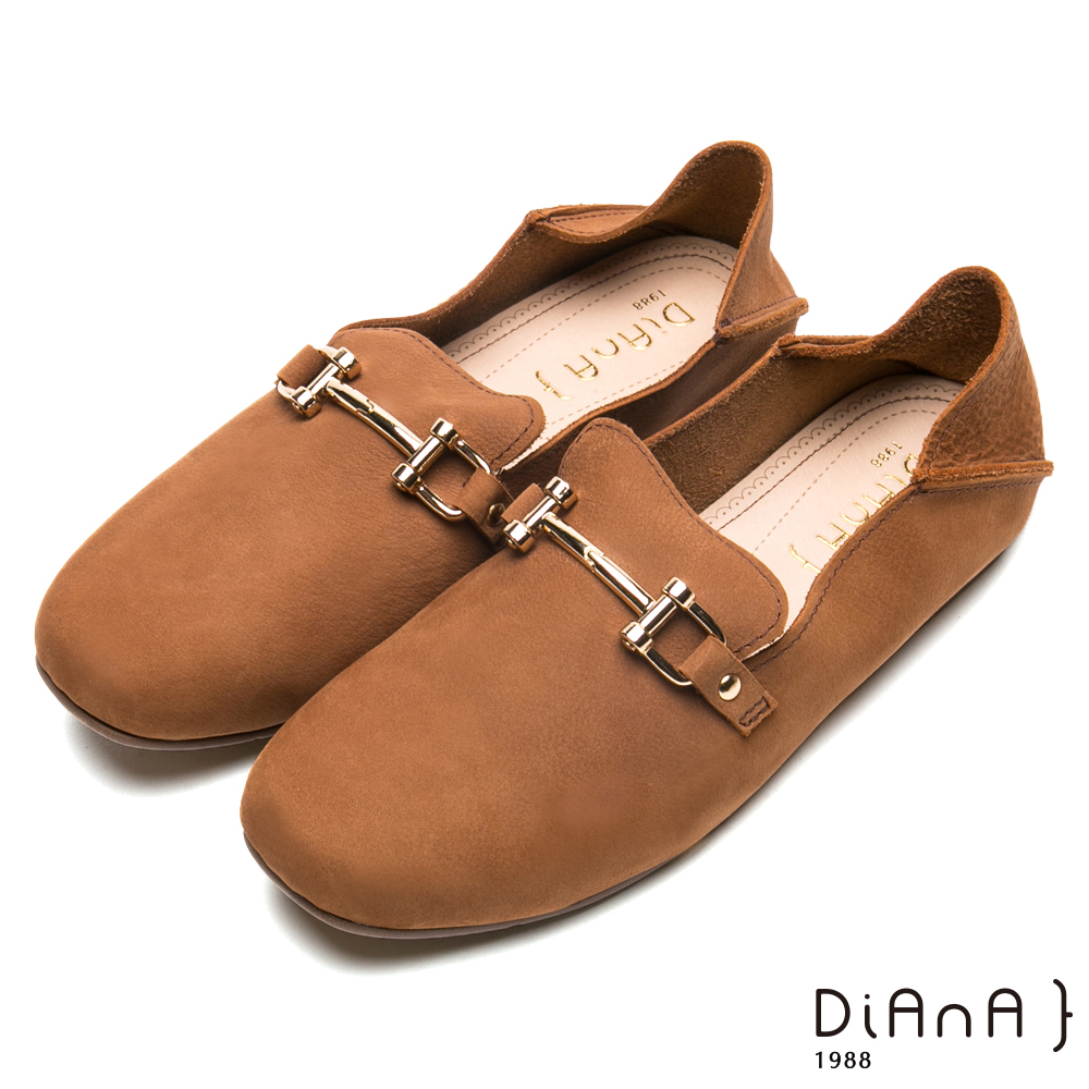 DIANA 2WAY真皮馬銜釦方頭休閒-漫步雲端厚切焦糖美人鞋-棕