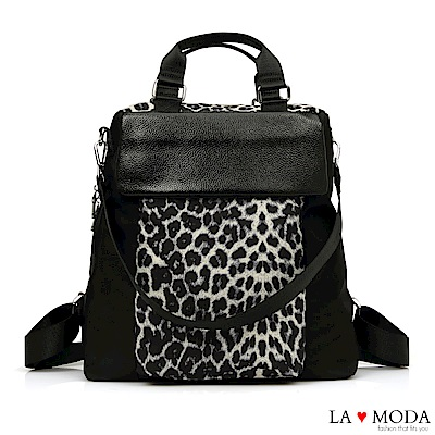 La Moda 超大容量出國旅遊必備防潑水防盜後拉鍊肩背後背包(豹紋)