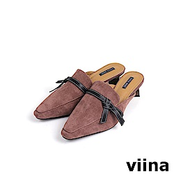 viina Basic黑綁帶木紋跟穆勒鞋 - 藕粉
