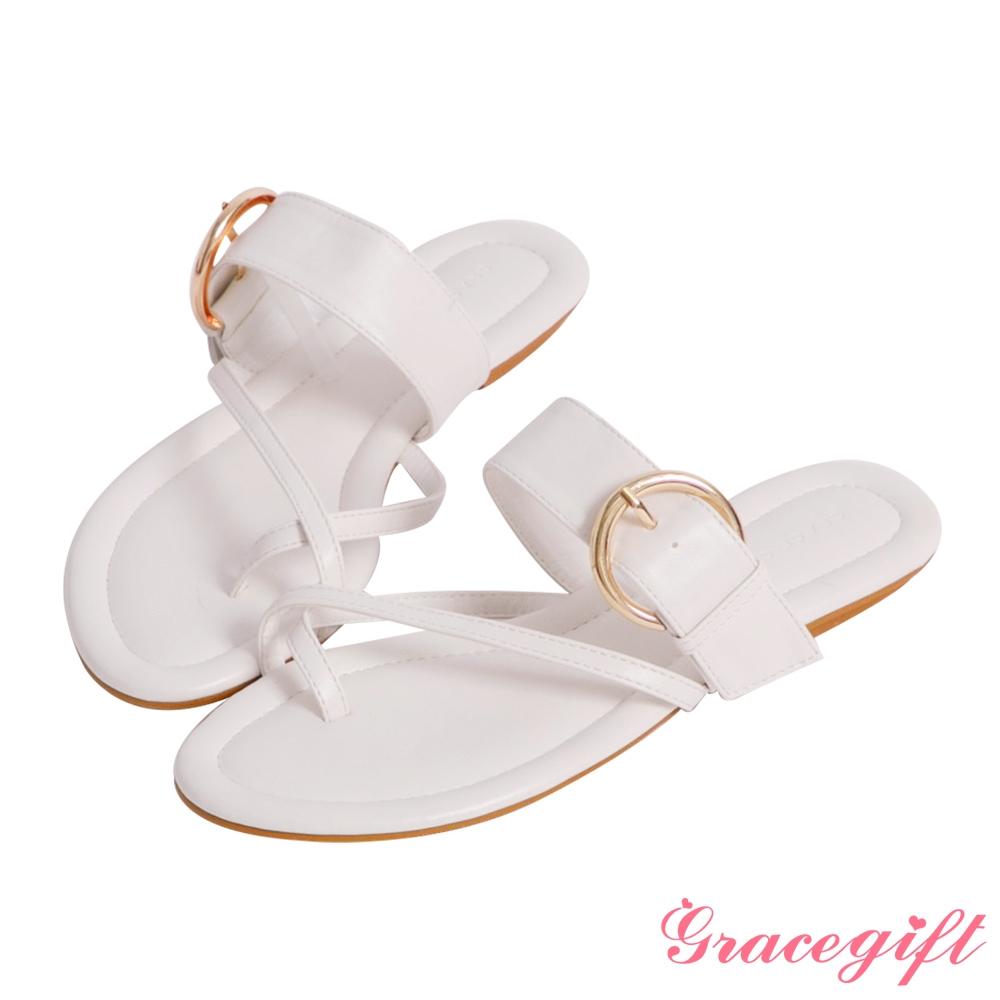 Grace gift-交叉金屬環平底涼拖鞋 白