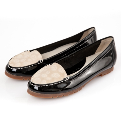 G.Ms. 漆皮拼接壓紋牛皮莫卡辛平底鞋-黑色