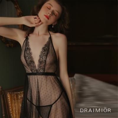 性感睡衣  DRAIMIOR波點透紗深V短裙睡衣。黑色 久慕雅黛