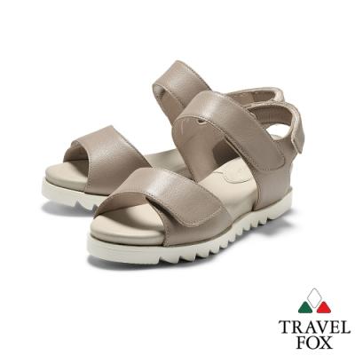 TRAVEL FOX(女)  綠野仙踨 II  平行雙帶柔軟羊皮可調休閒涼鞋 - 可可色