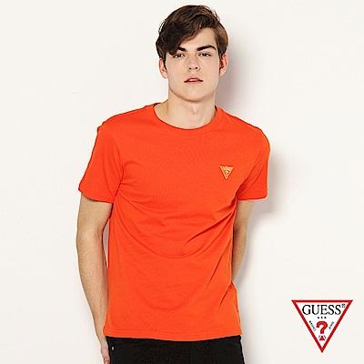 GUESS-男裝-刺繡小LOGO短T,T恤-橘 原價1290