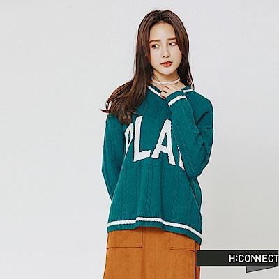 H:CONNECT 韓國品牌 女裝-滾邊麻花針織上衣-藍綠色