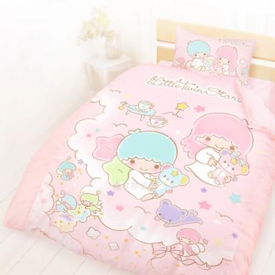 享夢城堡 精梳棉單人床包雙人兩用被套三件組-雙星仙子Little Twin Stars 小熊扮家家-粉