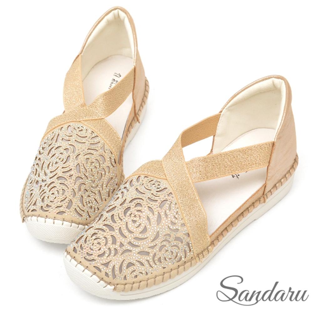 山打努SANDARU-真皮玫瑰紋鑽透膚鬆緊休閒鞋-金 (金)