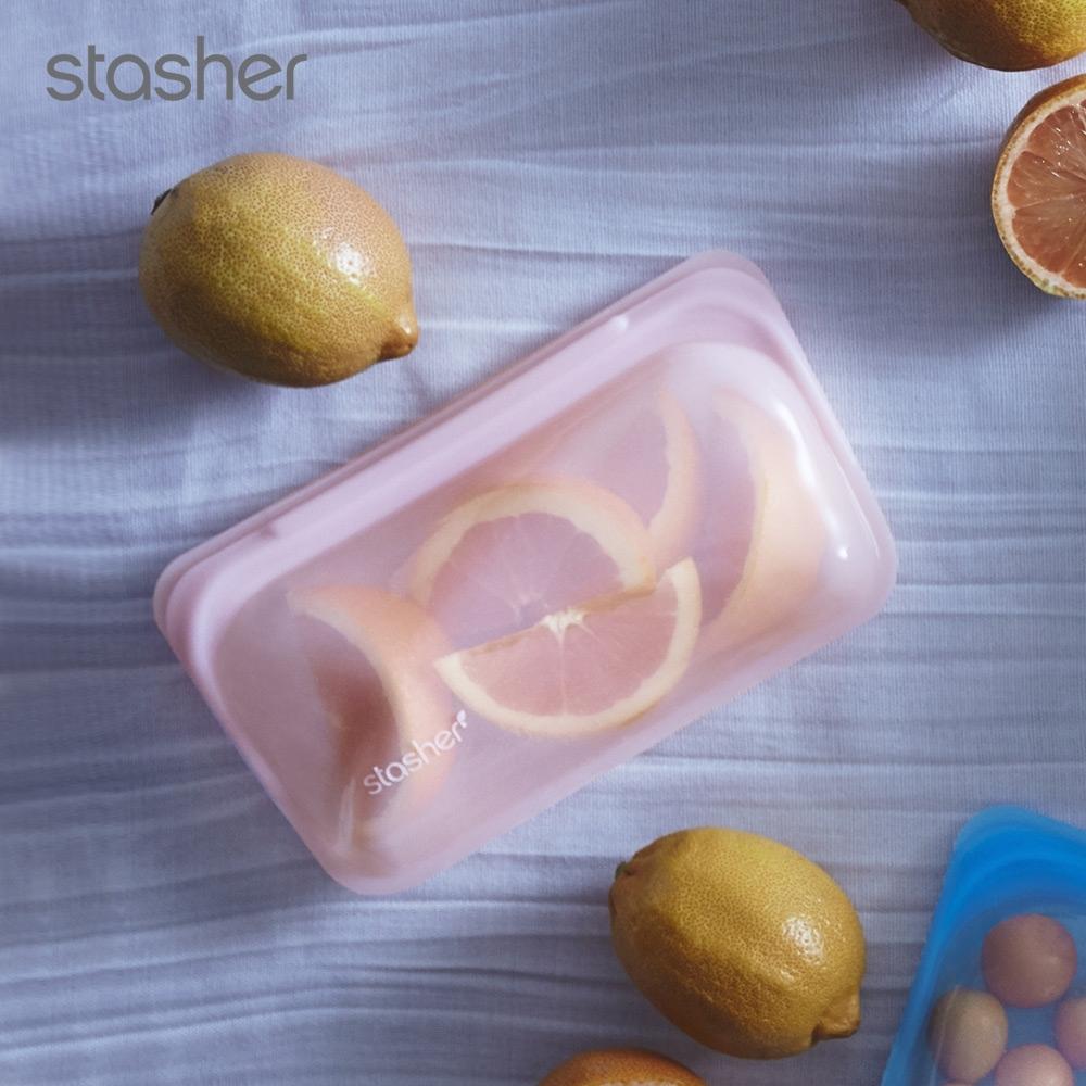 美國Stasher 長形白金矽膠密封袋-玫瑰石英粉(快)