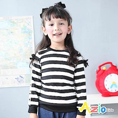 Azio Kids 上衣 蕾絲蝴蝶結緞帶裝飾袖條紋圓領長袖T恤(黑)