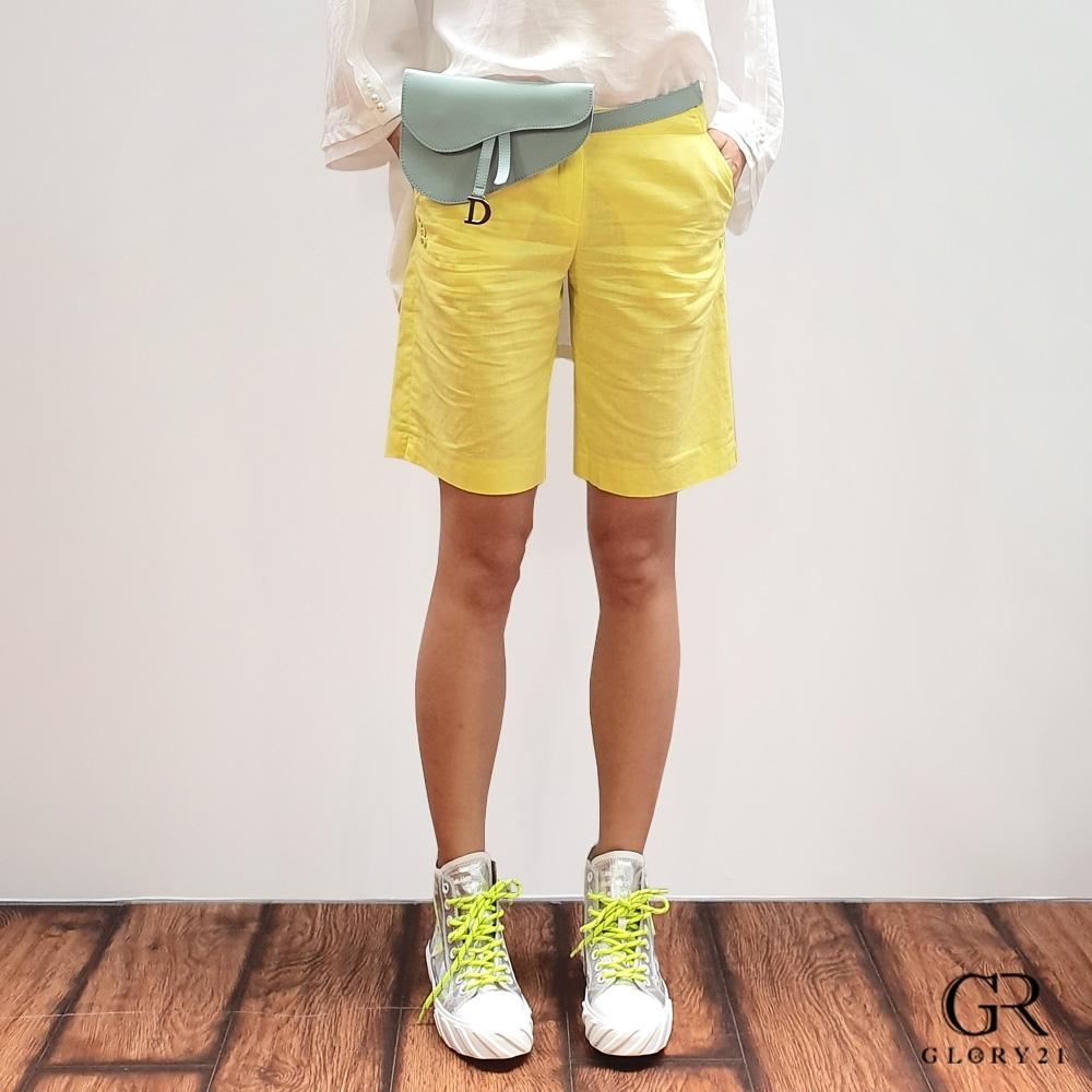 GLORY21 天然亞麻短褲_黃