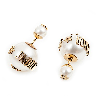 Dior J Adior「Dior Tribales」鍍金復古金屬白色圓珠小款穿式耳環