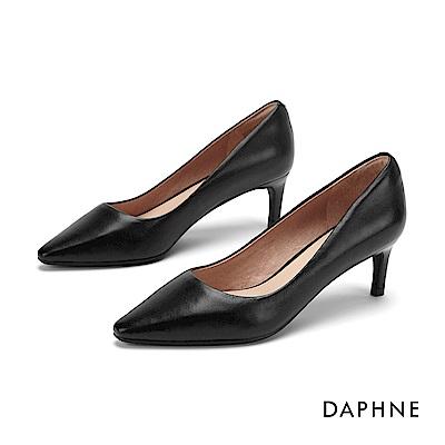 達芙妮DAPHNE 高跟鞋-高雅素面真皮高跟鞋-黑