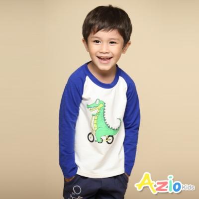 Azio Kids 男童 上衣 可愛恐龍腳踏車印花棒球長袖印花T恤(藍)
