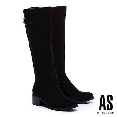 長靴 AS 極簡品味金屬方釦帶麂布粗跟長靴-黑