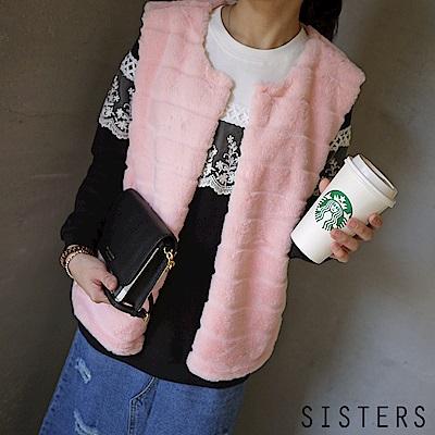 自訂款韓系仿皮草無袖背心外套 粉色 SISTERS