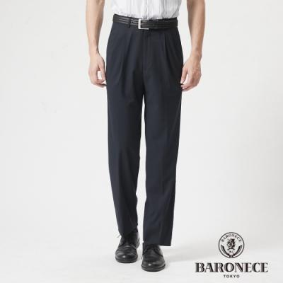 BARONECE 百諾禮士休閒商務  男裝 彈性打褶西裝褲--藍色(1188868-38)