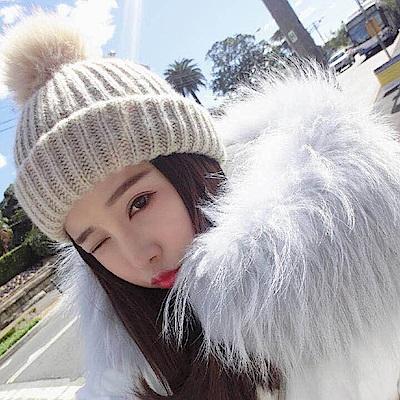 梨花HaNA 韓國手感針織毛線毛帽極簡灰色