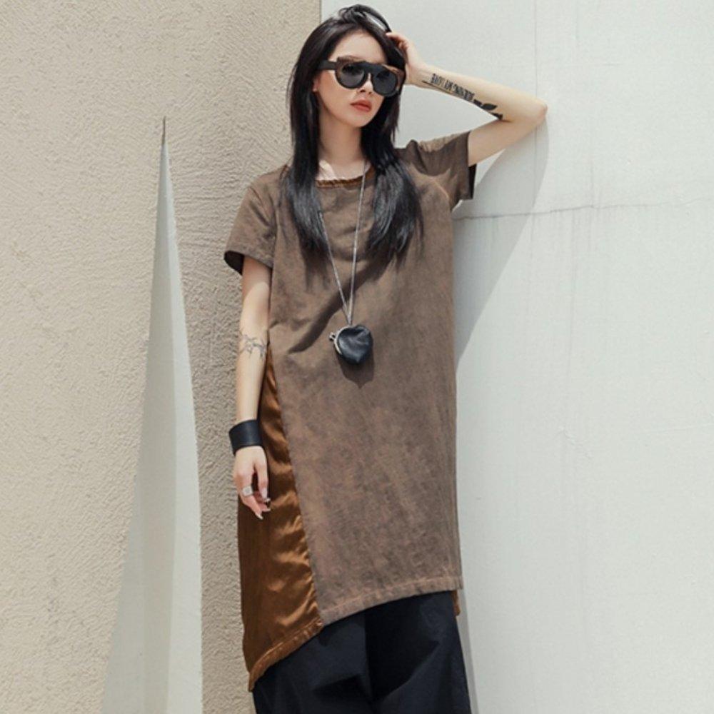 設計所在Style-做舊髒洗焦糖色拼接中長版洋裝