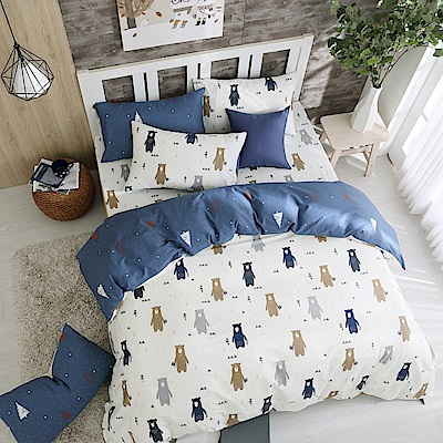 鴻宇 100%精梳棉 英倫小熊 雙人加大床包枕套三件組