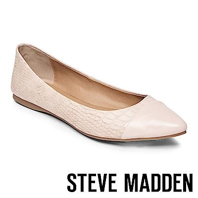 STEVE MADDEN DELANCY 皮革尖頭拼接平底鞋-粉色