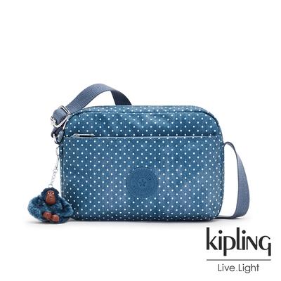 Kipling 復刻單寧水玉藍雙層拉鍊斜背包-DAMIAN