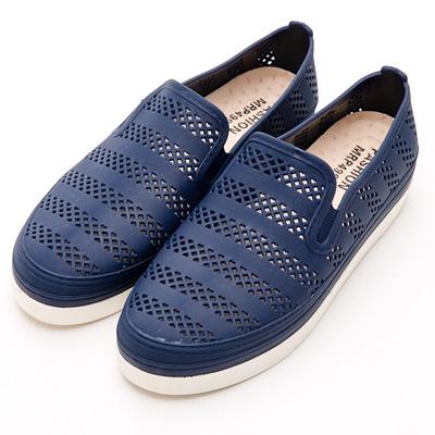 River&Moon防水鞋-晴雨二穿Q軟簍空懶人休閒鞋-藍
