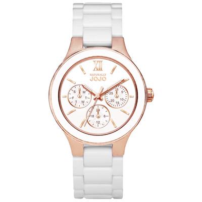 NATURALLY JOJO浪漫羅馬三眼陶瓷腕錶-白X玫瑰金-JO96935-80R