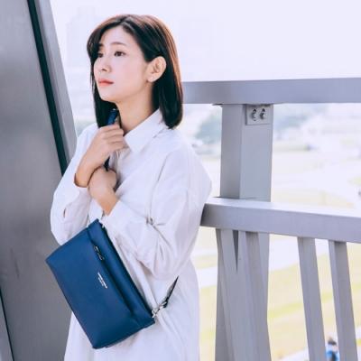 【Maria Carla】多格層素色質感側背包_海軍藍_都會極簡系列