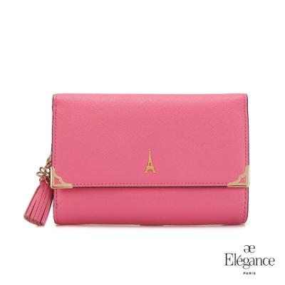 【Elegance】LIVELY 十字紋對折中夾-粉紅色