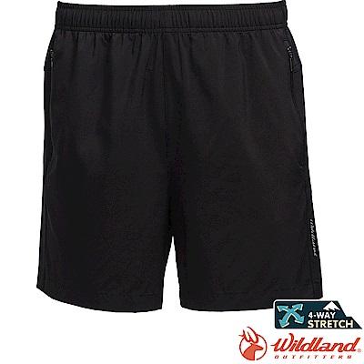 Wildland 荒野 0A71398-54黑色 男透氣拼接運動短褲