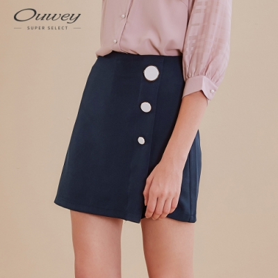 OUWEY歐薇 優雅白釦素色褲裙(藍)