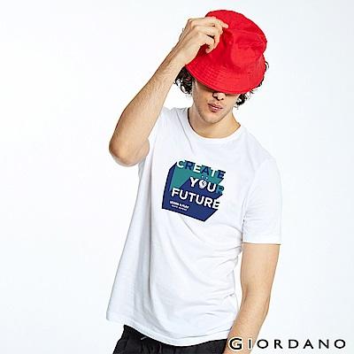 GIORDANO 男裝LEARN N PLAY系列印花短袖T恤-41 標誌白