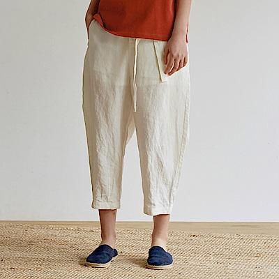 旅途原品_鬆動_原創設計亞麻寬鬆休閒褲-米白色/黑色