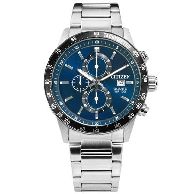 CITIZEN 三眼計時日本機芯防水不鏽鋼(AN3600-59L)手錶-藍黑色/44mm