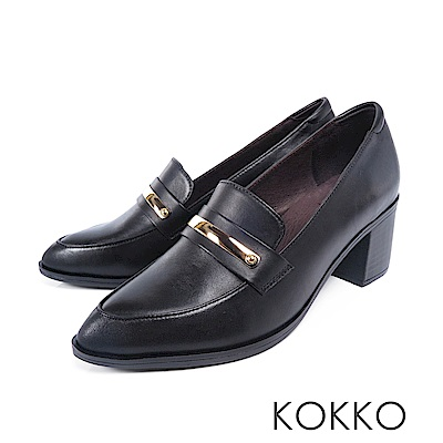 KOKKO  - 落葉情話牛皮樂福粗跟鞋-經典黑