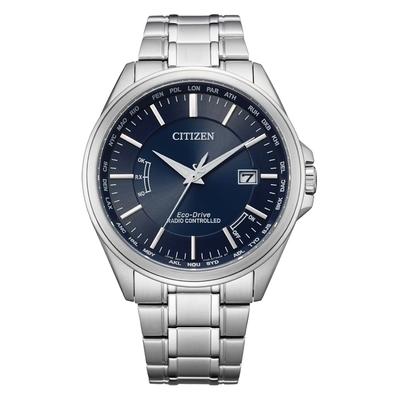 CITIZEN Eco-Drive 英倫雅痞型男時尚電波腕錶-銀X藍-CB0250-84L-43.3mm