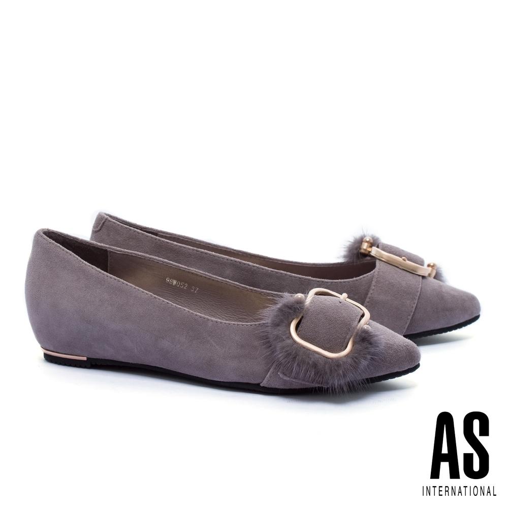 低跟鞋 AS 奢華貂毛釦飾全真皮內增高尖頭低跟鞋-灰