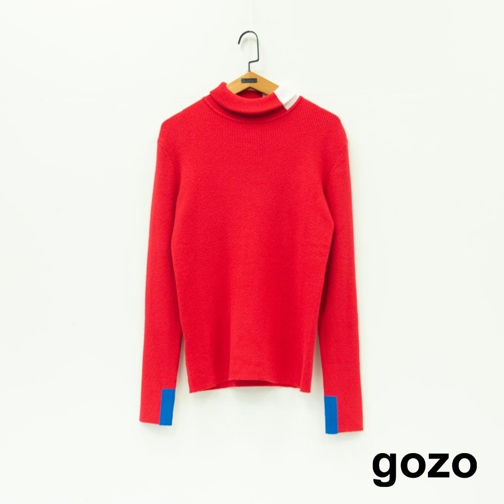 gozo 色塊拼接高領針織衫(紅色)