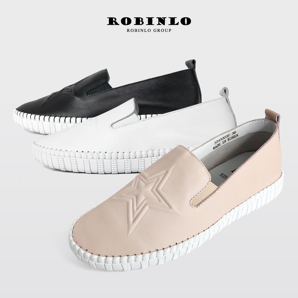 Robinlo甜美星星款全真牛皮懶人休閒鞋 黑/白/粉