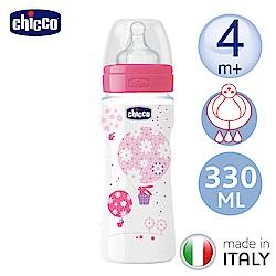 chicco舒適哺乳-甜美女孩矽膠PP特大奶瓶330ML-附三孔4m+奶嘴