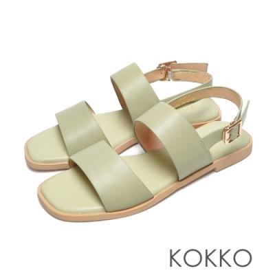 KOKKO時髦方頭一字帶柔軟羊皮平底後帶涼鞋綠色
