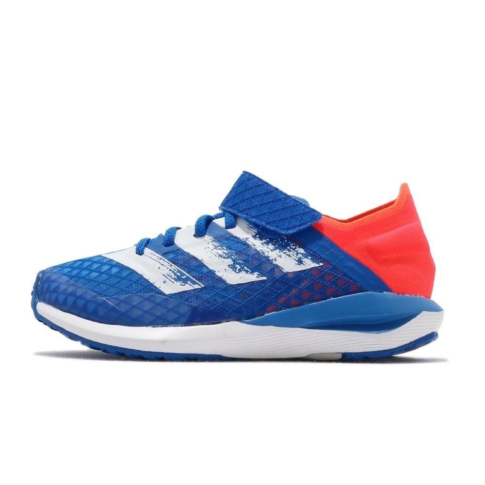 adidas 慢跑鞋 Rapidafaito Summer 童鞋 愛迪達 三線 魔鬼氈 運動休閒 中童 藍 白 紅 EG0520