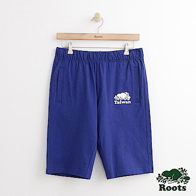 Roots 男裝-台灣系列棉質短褲-藍色