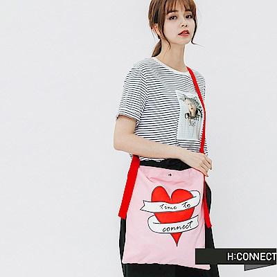 H:CONNECT 韓國品牌 -亮眼圖印帆布包-紅