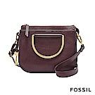 FOSSIL RYDER 真皮小圓弧手提/側背兩用包(硬質把手)-棗紅色