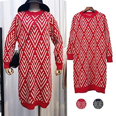 DABI 韓系菱格拚色長版長袖洋裝