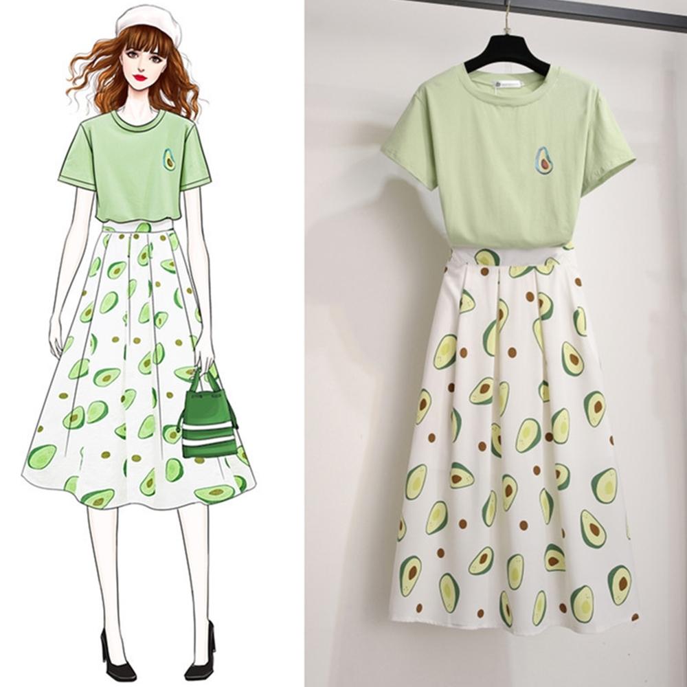 初色  百搭上衣+印花裙兩件式套裝-共2色-(M-2XL可選)
