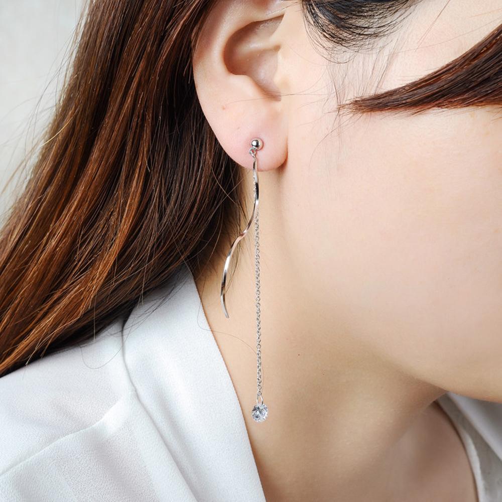 梨花HaNA    韓國925銀曲線水晶夢境串飾耳環