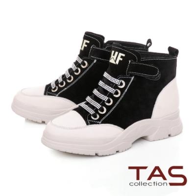 TAS異材質拼接綁帶造型魔鬼氈中筒休閒鞋-率性黑